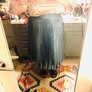 Aqua Anthropologie skirt w shiny silky fabric